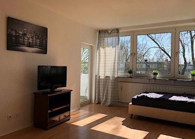 DIM Bett mit TV großem Fenster und Ausgang zur Terrasse